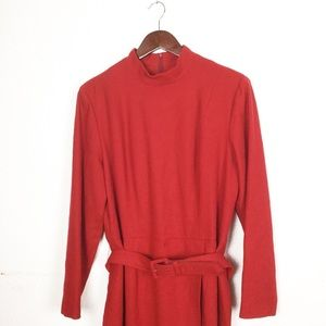Vintage Red Wool Belted Faux Wrap Midi Dress